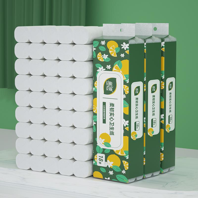 蓝漂竹浆4层3提54卷无芯卷纸家庭用纸卫生纸